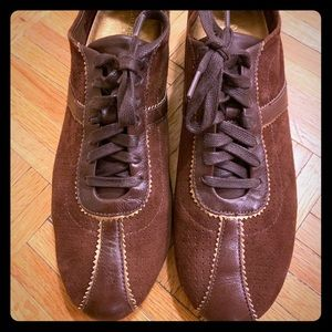 Cole Hann Brown and Gold Suede Oxford Size 9